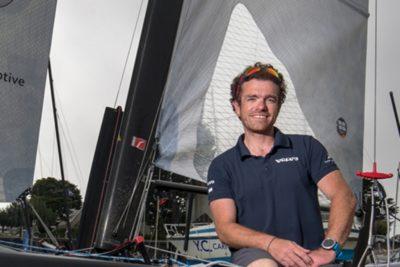 Jonas Gerckens au départ de la Route du Rhum 2018